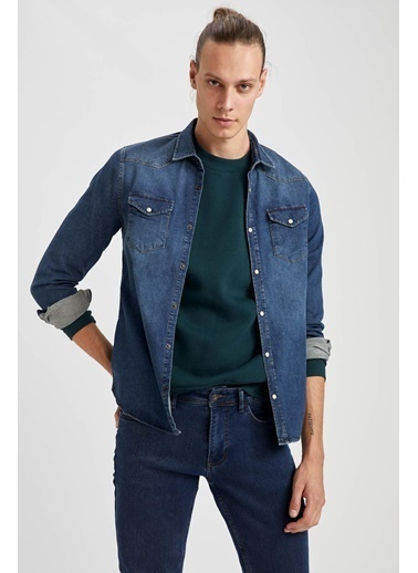 DeFacto Slim Fit Uzun Kollu Jean Gömlek Mavi